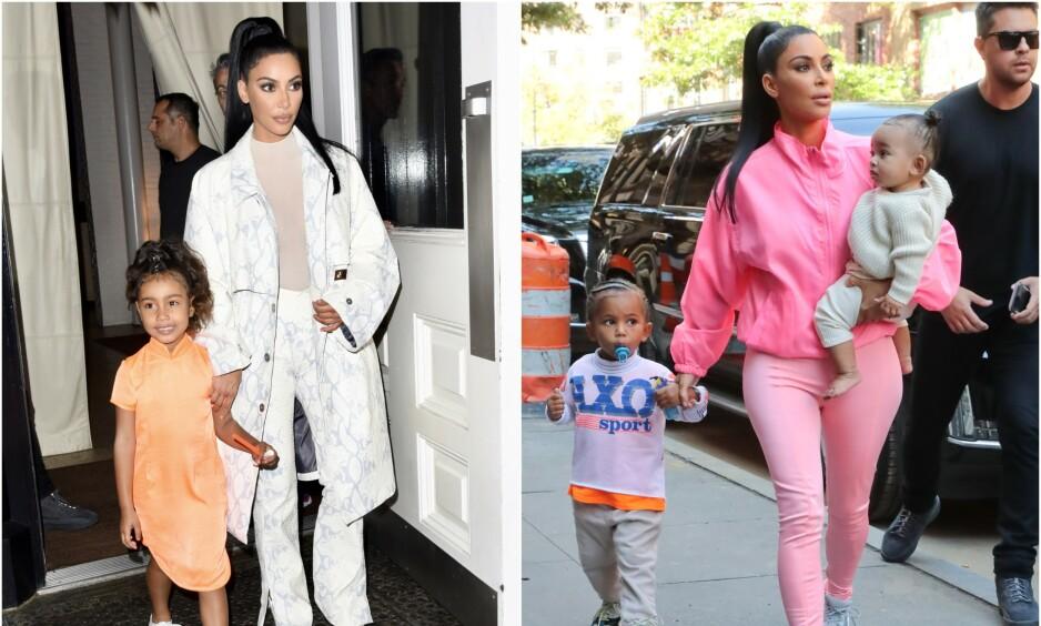 <strong>SVARER PÅ KRITIKKEN:</strong> Etter at det ble kjent at Kim Kardashian skal bli advokat, har reaksjonene ikke latt vente på seg. Nå svarer hun på kritikken. Her avbildet med barna sine, North (bildet t.v.), Saint og Chicago. Foto: NTB Scanpix