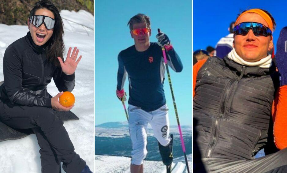PÅSKEFERIE: Jorun Stiansen, Johannes Høsflot Klæbo og Grunde Myhrer er bare noen norske kjendiser som nyter påsken. Foto: Privat / Instagram