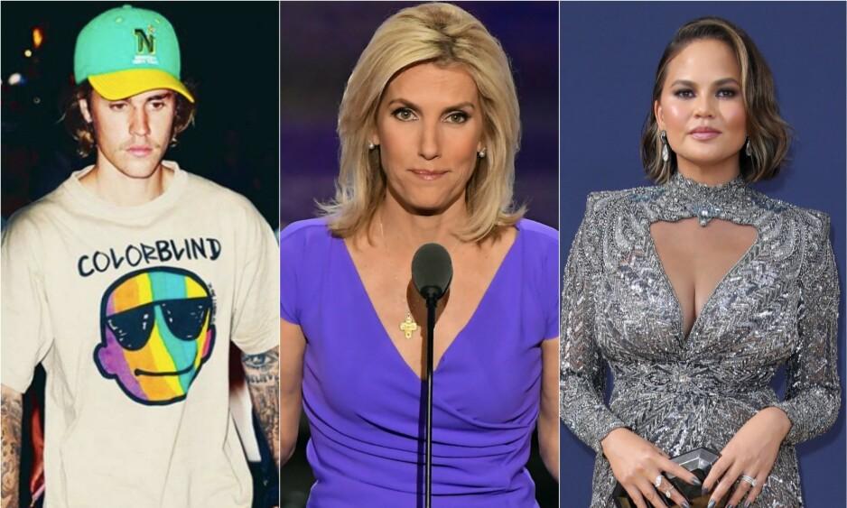 OMSTRIDT: Den amerikanske tv-personligheten Laura Ingraham (i midten av Justin Bieber og Chrissy Teigen) har blitt gjenstand for krass kritikk den siste tida. Det er derimot ikke første gang hun har havnet i kryssilden. Foto: NTB Scanpix