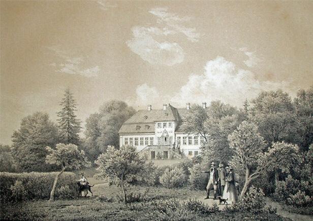 KJENT: Familien eier godset Constantinsborg, som ligger like ved Århus. Her er godset malt i 1861 av F. Richardt. Foto: Ferdinand Richardt