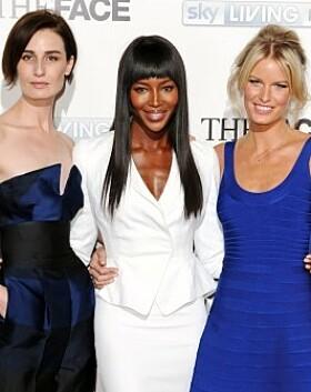 SUPERMODELLER: Erin O'Connor, Naomi Campbell og Caroline Winberg. Foto: NTB Scanpix