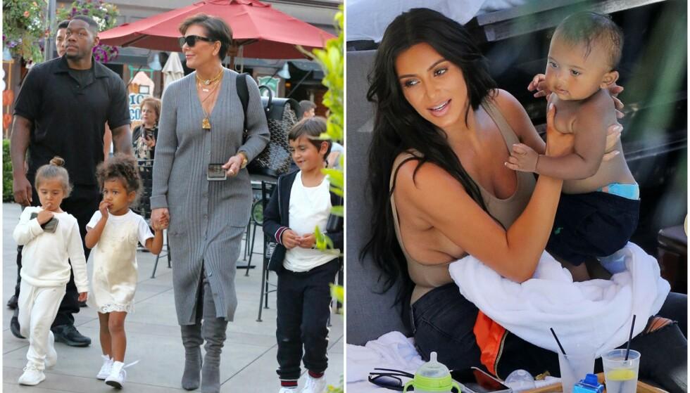 BESTEMOR TIL NI: Kris Jenner har ni barnebarn, og i et nytt intervju forteller hun om sykehusbesøk med to av barnebarna, Mason (midten) og Saint (t.h.). Foto: NTB scanpix