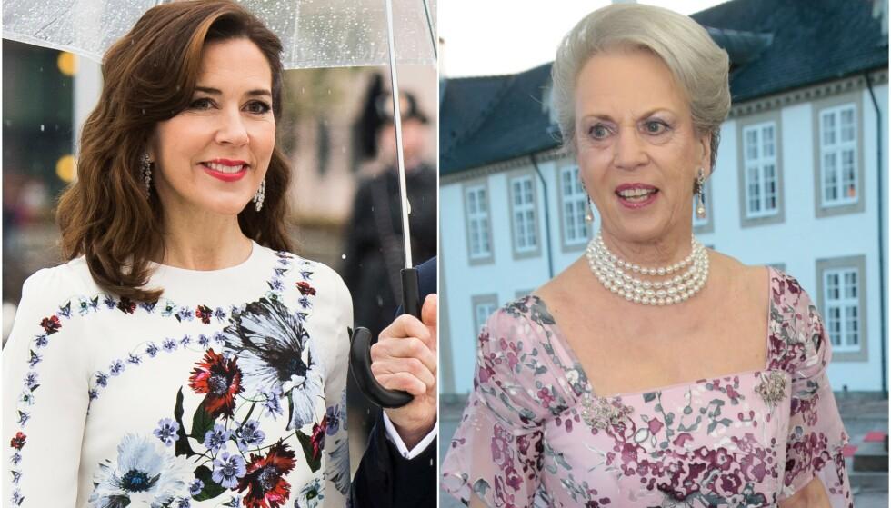 KRITISERER DE KONGELIGE: Prinsesse Benedikte (t.h) kritiserer utviklingen hos den yngre generasjonen kongelige i sin nye bok. Blant annet mener hun de i dag har en alt for stor garderobe. Foto: NTB Scanpix