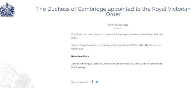 ANNONSERTE TITTEL: Den nye tittelen ble selv annonsert av den britiske kongehuset i dag. Faksimile: Royal.uk