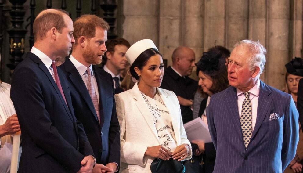 FAMILIEFEIDE: Forholdet mellom prins William, prins Harry, hertuginne Meghan og prins Charles har forandret seg drastisk etter det mye omtalte Oprah-intervjuet. Her er de fire samlet i London våren 2019. Foto: Richard Pohle / POOL / AFP/NTB