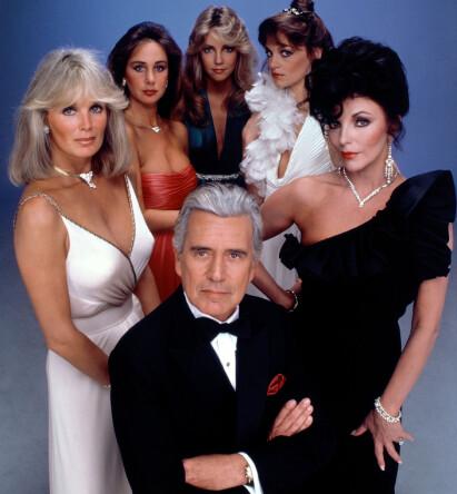 ORIGINALEN: Såpeserien «Dynastiet» gikk som en farsott på NRK på 1980-tallet. Foran Krystle (Linda Evans) og Blake Carrington (John Forsythe). T.h. heksa Alexis (Joan Collins). Foto: NTB Scanpix