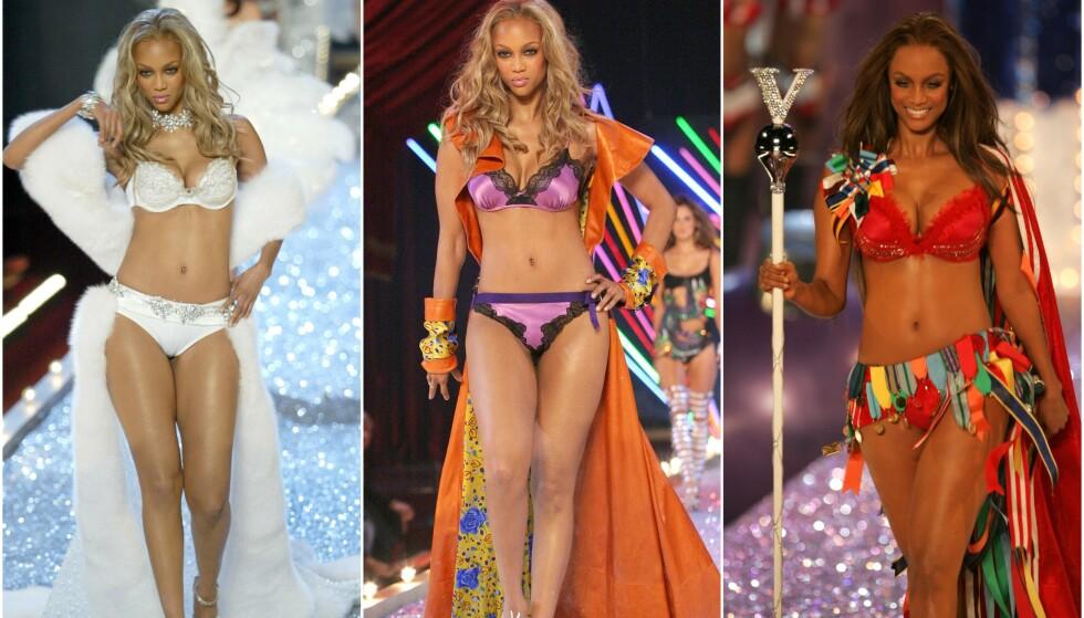 SIGNATUR: Tyra Banks skjulte som regel alltid bakenden da hun gikk på catwalken for Victoria's Secrets undertøysvisning. Nå forklarer hun den noe overraskende årsaken. Foto: NTB Scanpix
