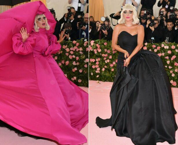 ANNENHVER: Lady Gaga dukket først opp i en stor og luftig rosa kjole, før hun byttet til en svart en. Foto: NTB scanpix