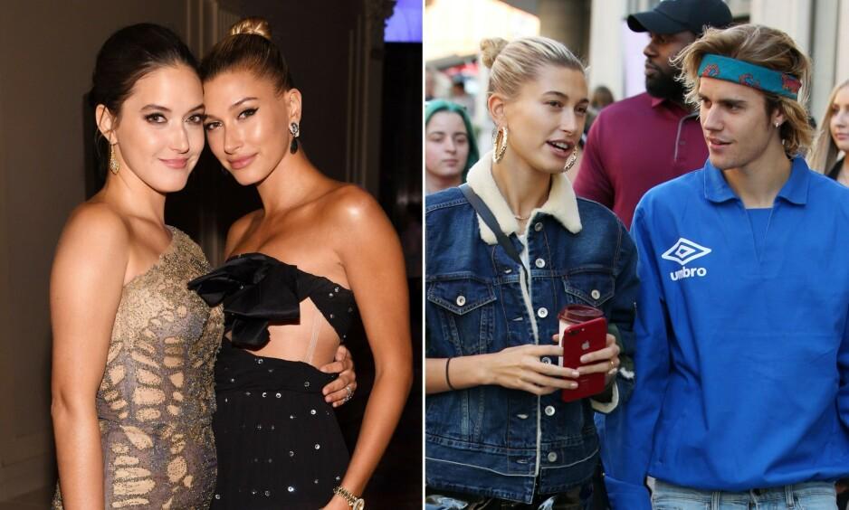 FORVIRRET: Ikke engang Hailey Bieber søster, Alaia (til venstre), vet når bryllupsfesten til stjerneparet vil stå. Foto: NTB Scanpix