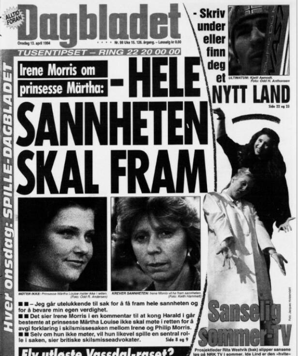 <strong>SKAPTE OVERSKRIFTER:</strong> Dramaet mellom prinsesse Märtha Louise og ekteparet Morris ble dekket tett - også i Dagbladet. Denne forsida er fra april 1994. Faksimile: Dagbladet