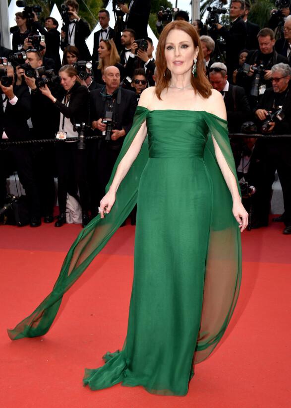 I GRØNT: Julianne Moore tok seg også flott ut på Cannes-åpningen. Foto: NTB scanpix
