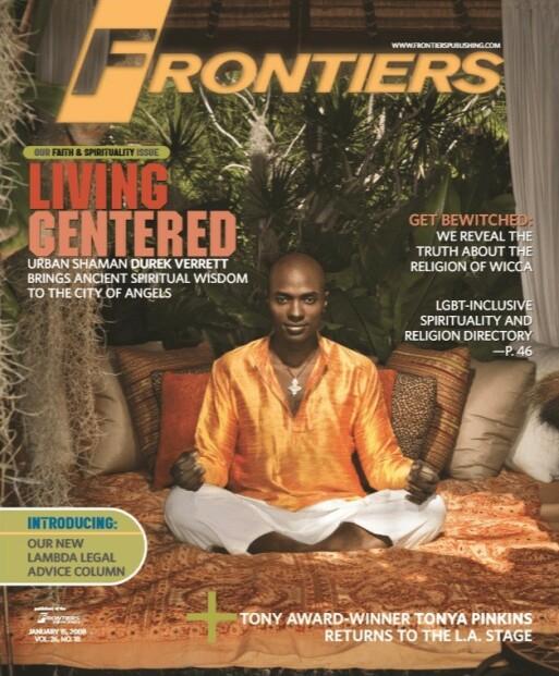 FORSIDE: I 2008 var Durek Verrett på forsiden av LHBT-bladet Frontiers, der han blant annet fortalte om sin egen seksualitet. Faksimile: Frontiers