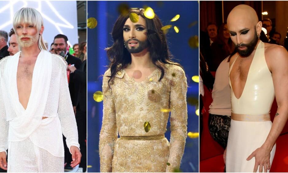 KAMELEON: Drag-dronningen og Eurovision-vinneren Conchita Wurst overrasket en hel verden i 2014, da han stakk av med seieren i Eurovision. Siden den gang har han endret utseendet sitt sporadisk. Foto: NTB scanpix