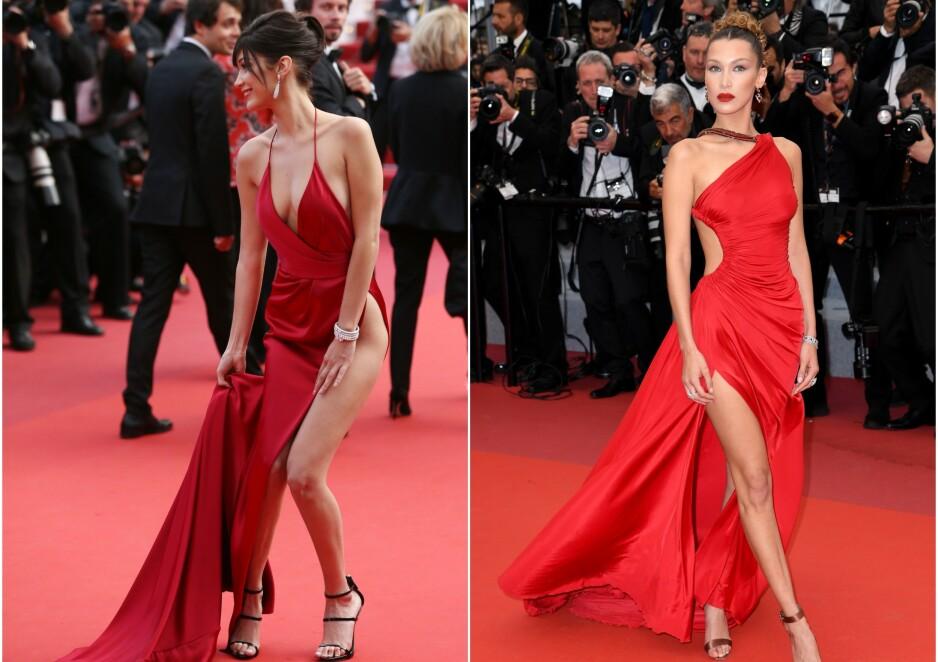 <strong>DA OG NÅ:</strong> Både i 2016 og i 2019 har Bella Hadid fått «alles» øyne på seg under filmfestivalen i Cannes. Men i år unnslapp hun «trusetabben» hun har slitt med tidligere. Foto: NTB scanpix