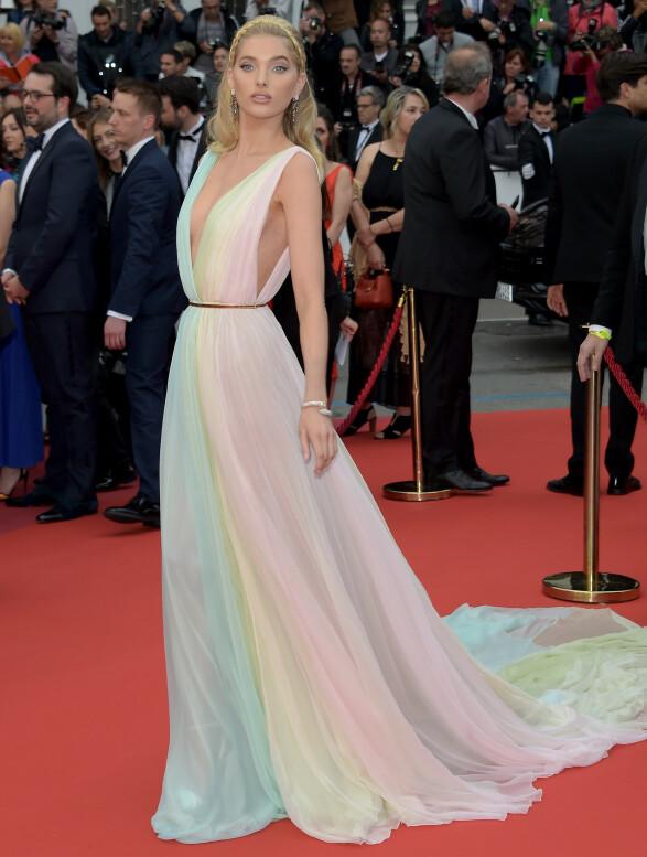 <strong>ELSA HOSK:</strong> Modellen i pastellfarger fra Etro på «A Hidden Life»-premieren i Cannes. Foto: NTB scanpix