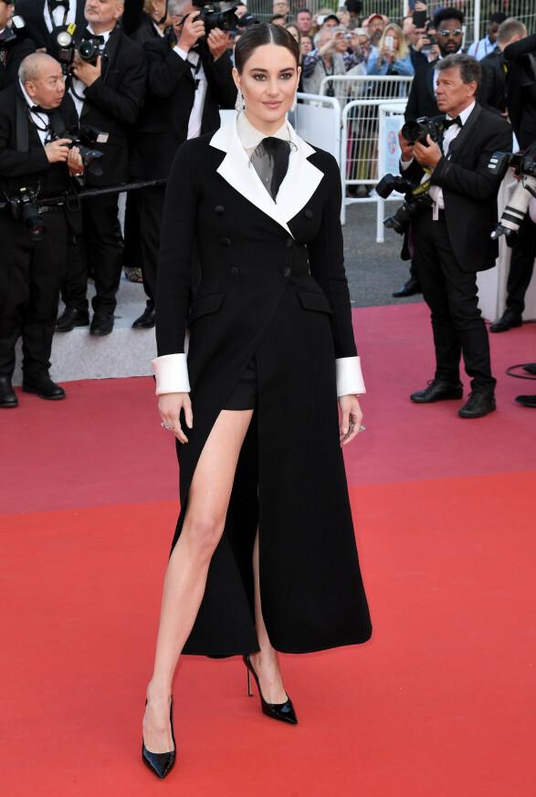 <strong>SHAILENE WOODLEY:</strong> Stjernen stilte i et androgynt antrekk fra Dior på «Rocketman»-premieren. Foto: Anthony Harvey/REX/ NTB scanpix