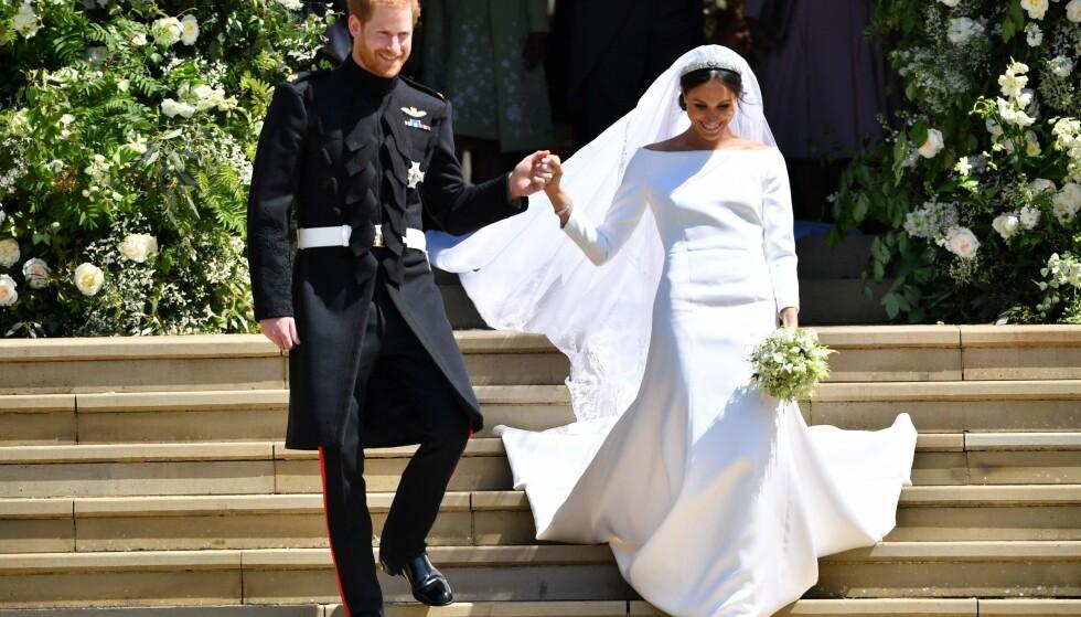 BRYLLUP: Meghan og Harry giftet seg 19. mai i fjor. Nylig feiret de sin første bryllupsdag. Foto: NTB Scanpix