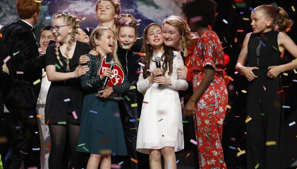 SEIERSRUS: Duoen Anna & Emma stakk av med seieren i Melodi Grand Prix Junior. Det gjorde de med låta «Kloden er syk». Foto: Tom Hansen / NTB scanpix