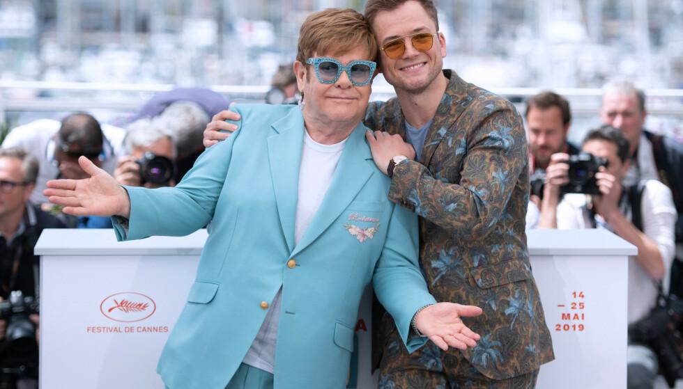 SPILLER ELTON: Taron Egerton spiller rollen som Elton John i den nye storfilmen om popstjernens liv og virke. Her fra filmfestivalen i Cannes i forrige uke. Foto: NTB Scanpix