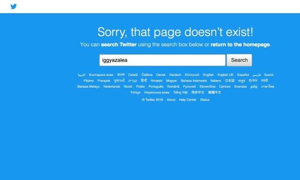 IKKE PÅ TWITTER: I skrivende stund er ikke Iggy Azaleas twitter-konto oppe og går. Foto: Skjermdump fra Twitter