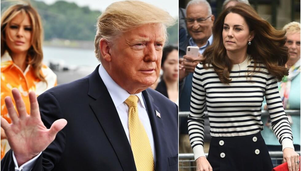 SLANG MED LEPPA: Neste uke skal president Donald Trump tilbake til Storbritannia. I den anledning har flere upassende sitater om kongefamilien sett dagens lys igjen. Foto: NTB Scanpix