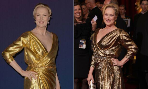 UHELDIG: Voksmuseet forsøkte trolig å gjenskape Meryl Streeps look fra Oscar-utdelinga i 2012 (til høyre), men var ikke helt heldige med resultatet. Foto: NTB Scanpix