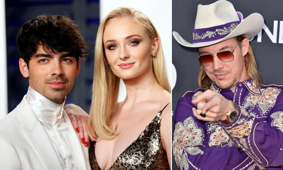 GIFTET SEG: Da Joe Jonas og Sophie Turner giftet seg i begynnelsen av mai, livestreamet DJ-en Diplo seremonien. Det var ikke planlagt. Foto: NTB Scanpix