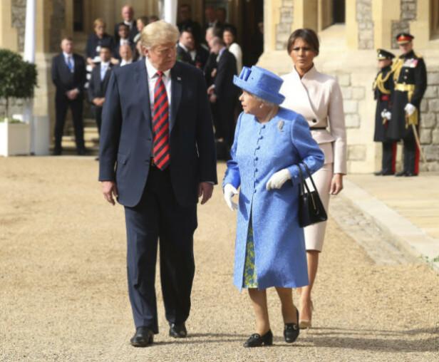 NYTT MØTE: Trump-ekteparet har møtt dronningen tidligere. Som her på Windsor Castle i fjor sommer. Foto: NTB Scanpix