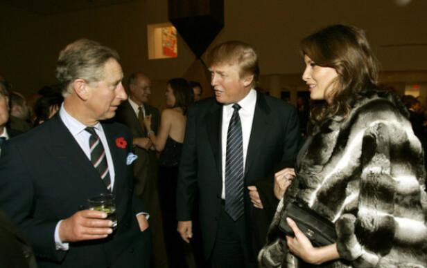 MED DIANAS EKSMANN: Donald og Melania Trump sammen med prins Charles i 2005. Foto: NTB Scanpix