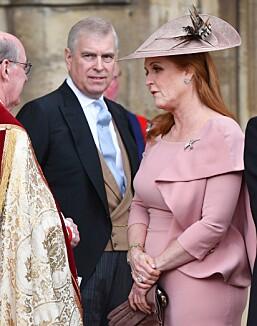 <strong>OFTE SAMMEN:</strong> Det tidligere hertugparet deltar stadig på arrangementer sammen. Her da Lady Gabriella Windsor og Thomas Kingston giftet seg i mai. Foto: NTB Scanpix
