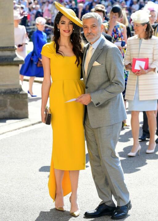 <strong>I BRYLLUPET:</strong> Amal og George Clooney var til stede da prins Harry og Meghan Markle giftet seg 19. mai 2018. Foto: REX/ NTB scanpix