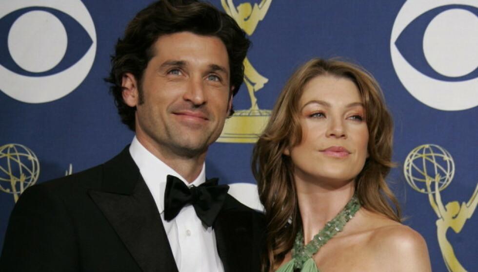 TV-PAR: Patrick Dempsey og Ellen Pompeos rollefigurer fant kjærligheten i den populære serien. Her er skuespillerne avbildet sammen under Emmy-utdelingen i 2015. Foto: NTB Scanpix