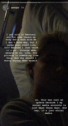 PÅ SYKEHUS: Anniken Jørgensen la selv ut oppdateringer til følgerne sine på Instagram-stories. Skjermdump: Instagram
