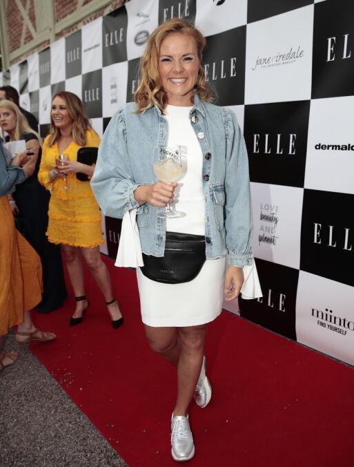 FESTKLAR: Helene Olafsen for første gang på Elle-festen tirsdag kveld. Foto: NTB Scanpix