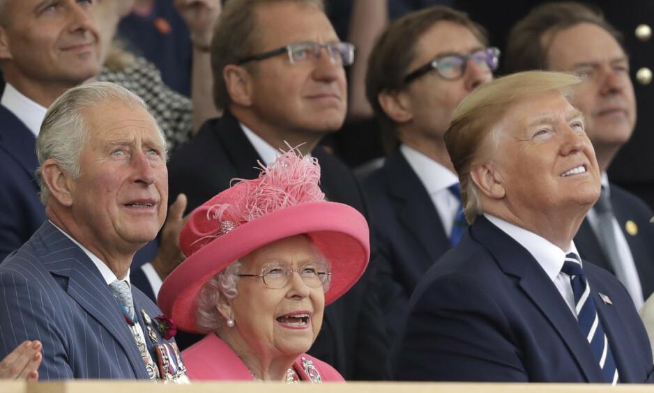 <strong>BESØK:</strong> Prins Charles av Wales, dronning Elizabeth og president Donald Trump avbildet under Trumps nylige statsbesøk i Storbritannia. Foto: Rex / Shutterstock / NTB Scanpix