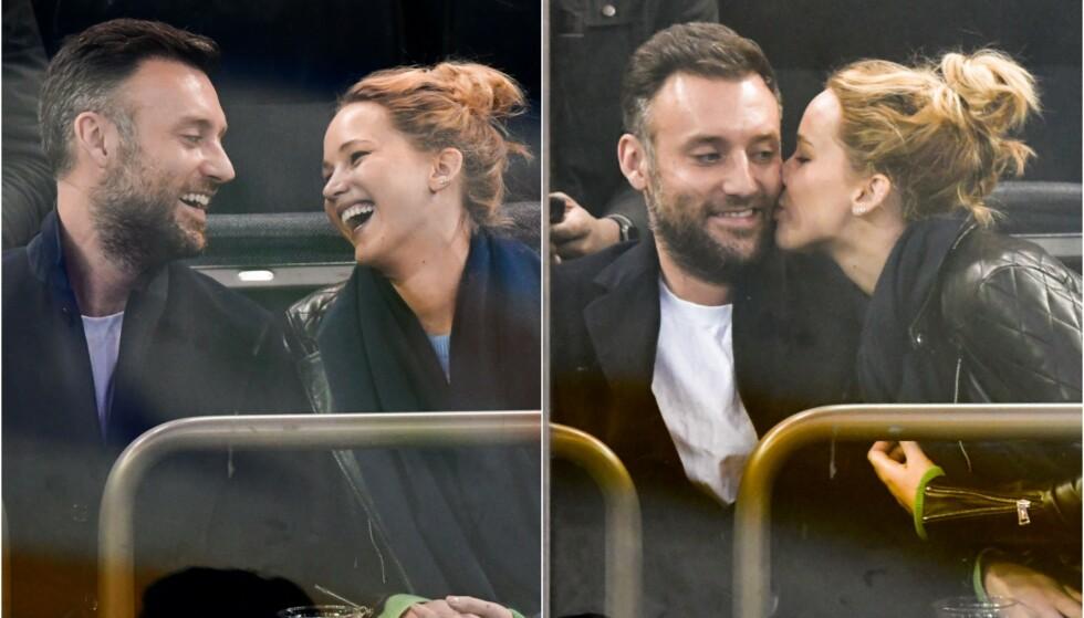 STORMFORELSKET: Jennifer Lawrence har tidligere holdt kortene tett til brystet når det kommer til kjærestene sine. Nå skryter hun derimot uhemmet av sin kommende ektemann, Cooke Maroney. Foto: NTB Scanpix