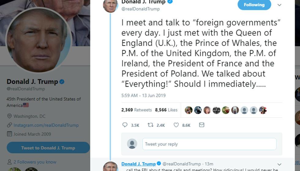 BLEMME: Donald Trumps tweet ble ikke helt som planlagt. Det var det flere som la merke til. Foto: NTB Scanpix