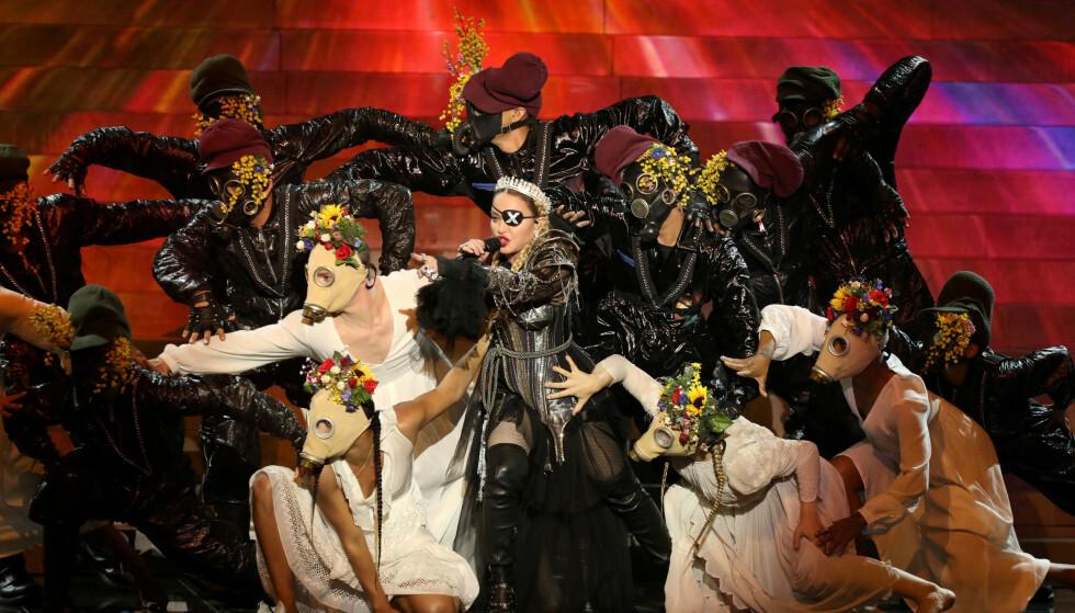 <strong>OPPTRÅDTE:</strong> Madonnas opptreden under Eurovision har blitt mye omtalt, både for hennes sure sangstemme og for det politiske stuntet. Foto: NTB Scanpix