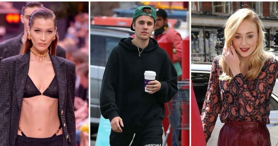 <strong>TO PROFILER:</strong> Bella Hadid, Justin Bieber og Sophie Turner er bare noen av kjendisene som har hemmelige Instagram-kontoer. Foto: NTB Scanpix