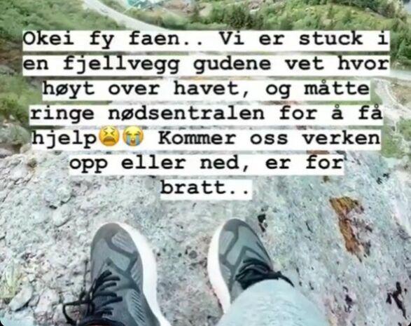OPPDATERTE PÅ INSTA-STORY: Bloggeren dokumenterte hele hendelsen. Foto: Skjermdump/Andrea Badendyck