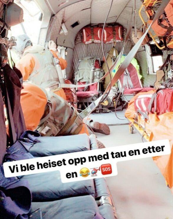 REDDET: Røde Kors kom til unnsetning og berget reisefølget med helikopter. Foto: Skjermdump/Andrea Badendyck