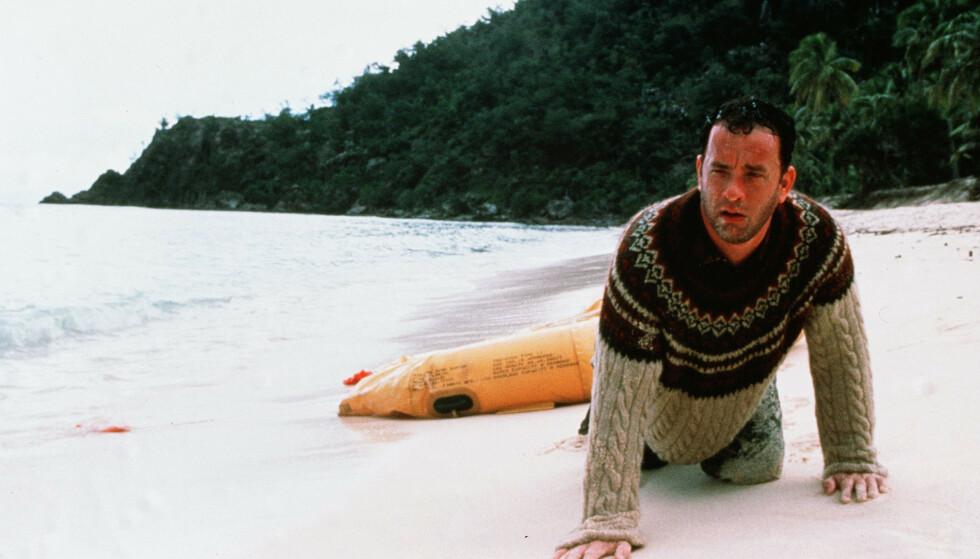 STORFILM: Tom Hanks på en øde øy i dramaet «Cast Away» fra 2000. Foto: NTB Scanpix