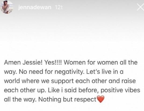 STØTTENDE: Jenna svarte Jessie J på Instagram. Foto: Skjermdump / Instagram