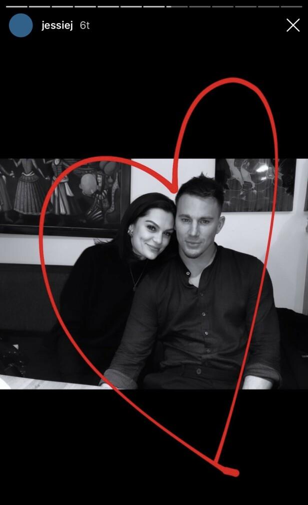 KJÆRLIGHET: Man kan trygt si at flere av fansen ble overrasket da Jessie J bestemte seg for å dele to bilder av seg selv sammen med sin utkårede Channing Tatum på Instagram. Foto: Skjermdump fra Instagram