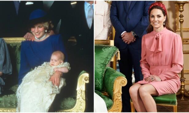 HEDRET DIANA: Det kan se ut til at Hertuginne Kates valg av øredobber var nøye gjennomtenkt ettersom prinsesse Diana hadde på seg de samme øredobbene under prins Harrys dåp. Foto: NTB Scanpix