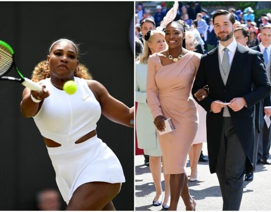 <strong>HEIET PÅ SERENA:</strong> Hertuginne Meghan heiet på venninnen Serena Williams under tennisturneringen. Her er hun i aksjon på Wimbledon forrige uke, og i bryllupet til Meghan og Harry sammen med ektemannen i mai 2018. Foto: NTB scanpix