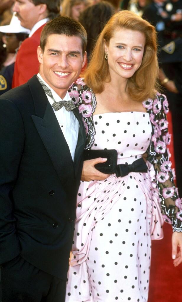 GIFT I TRE ÅR: Stjerneparet Tom Cruise og Mimi Rogers skilte seg i 1990. I etterkant har det blitt spekulert i om det var sistnevnte som introduserte Hollywood-stjernen til scientologikirken. Foto: NTB Scanpix