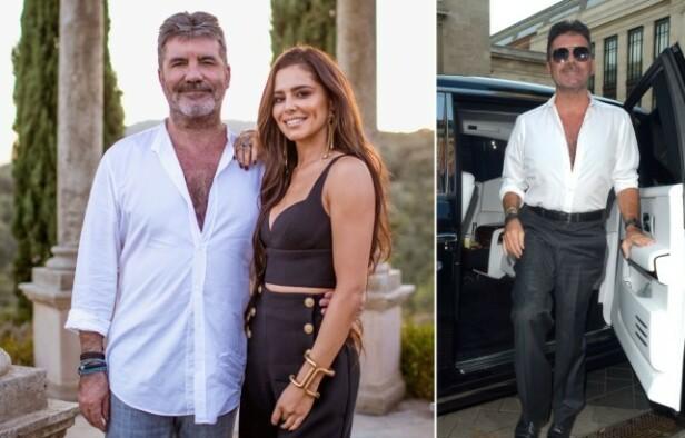 SLANK: Simon Cowell avbildet med Cheryl Cole i 2017 (t.v.) og nå nylig. (t.h.). Han har gått ned ti kilo siden da. Foto: NTB Scanpix
