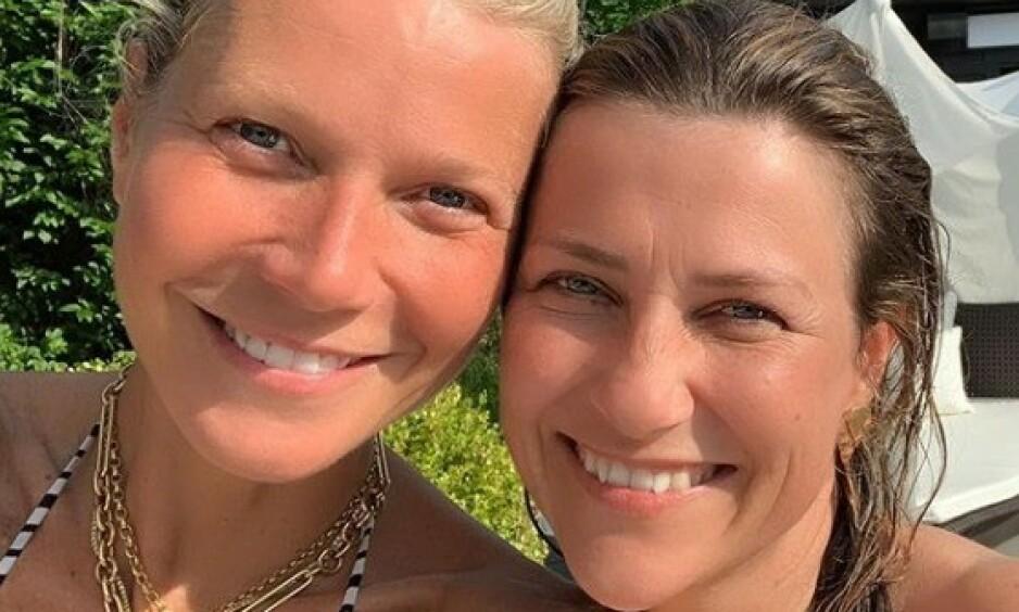 STJERNEMØTE: Mandag kveld delte prinsesse Märtha Louise bilder fra et møte med Hollywood-stjernen Gwyneth Paltrow på Instagram. Foto: Skjermdump, Instagram