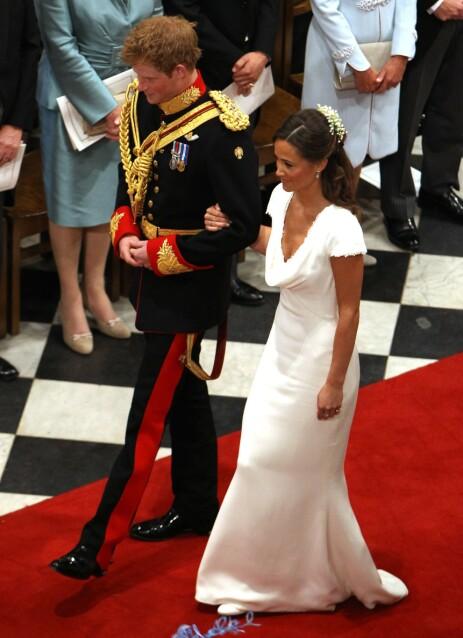 FORLOVERE: Pippa og Harry var forlovere da prins William og hertuginne Kate giftet seg i Windsor i april 2011. Det satte fart på romanseryktene. Foto: NTB Scanpix